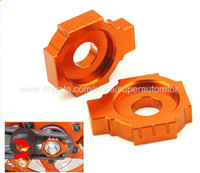 Wholesale 1 Pair Orange Motorcycle CNC Rear Axle Spindle Chain Adjuster Blocks for KTM DUKE