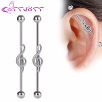 Wholesale Music Note Stud - 2pcs lot Charm Music Note Industrial Piercing Barbell Stud Earrings Stainless Steel Cartilage Tragus Body Jewelry 14GA 42mm IB7