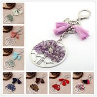 Wholesale Amethyst Cars - Life of Trees Tassel Keychain Pendant Tree of Life Crystal Gemstone Chakra Jewelry Key Chain Ring Keyring Keyfob Key Holder B127S