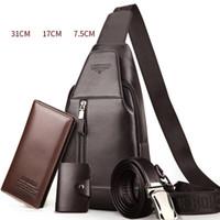 Wholesale Belt Wallet Sets - free shipping wallet belt key bag 4 for a set Men Messenger Bags Leather Chest Pack Casual Men's Travel Shoulder Bag Crossbody Sacoche Homme