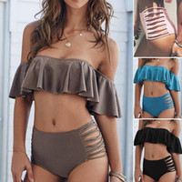 Wholesale Sexy Swimsuit Design - 2017 New Design Women Bikini Fashion Sexy Off Shoulder Frills Strips Beach Swimsuit Set Bathing Suit