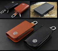 Wholesale Top Case Premium - Top Quality VW Car Key Bag Premium Leather Car Key Chains with Holder Zipper Remote Wallet Bag VW Logo Car Key Bag Case cover
