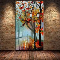 Wholesale road life - Fresh Morning Tree Road! Hand-painted Canvas Picture Landscape Modern Living Room Decorative painting Art Free Shipping
