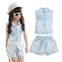 Wholesale Winter Denim Pants For Boys - Wholesale- Children Clothing Sets For Girls Summer Sleeveless Denim Lace Tops & Short Pants Fashion Girl Clothes Set For 2 4 6 8 10 12 Y