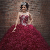 Wholesale White Debutante Dresses Lace - Burgundy Plus Size Ball Gown Sweet 16 Quinceanera Dresses Strapless Crystals Ruffles Organza Corset 2017 Girls Debutantes Masquerade Gowns