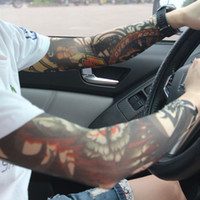 Wholesale Arm Sleeves Pairs - New Fashion Cycling Sleeves Punk Men Women Tamporary UV Skull Theme Fake Tattoo Sleeves Arm Warmers Sleeve For Halloween Party 20 Pairs
