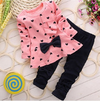 Wholesale Heart Sets Girls - Fashion Sweet Princess Kids Baby Girls Clothing Sets Casual Bow T-shirt Pants Suits Love Heart Printed Children Clothes Set