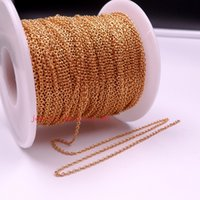 Wholesale Thin Stainless Steel Necklace Chain - factory price wholesale 50meter   ro Lot Gold Plated Stainless steel jewelry finding Thin 1.8mm Smooth Oval Link chain DIY Necklace Bracelet