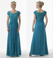 Discount turquoise bridesmaids dresses sleeves Turquoise Green Long Modest Bridesmaid Dresses With Short Sleeves A-line Lace Chiffon Floor Length Bridesmaids Dresses Cheap Sale
