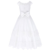 Wholesale Dress 12years - 2017 Cap Sleeve Elegant Big Bow-Knot Flower Girl Dresses Ball Gown Lace Applique Princess Brides Girl's Pageant Dress 1~12Years