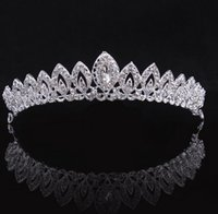 Wholesale Vintage Rhinestone Tiara Heart - ashion Jewelry Hair Jewelry 2016 Fashion design bridal tiara silver plated crystal rhinestone wedding bridal crown 1pcs lot vintage headw...
