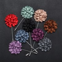 Wholesale Mens Flower Lapel Pins - New Stick Brooch Roses Male Brooches Female Party Suit Dress Mens Accessories leather Flowers Lapel Pins boutonniere fabric pin