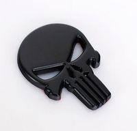 emblèmes auto crâne achat en gros de-Metal Auto Emblem Le Punisher Corps Badge 3D Sticker Crâne Personnalité Creative Sticker Autocollant