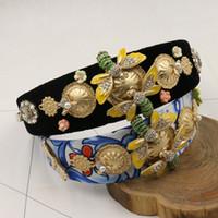 Wholesale Bee Headbands - 2017 luxury brand designer women runway Headwear Baroque Rhinestone bee diamond hair bands fashion Hair Jewelry brand Accessories - NC138