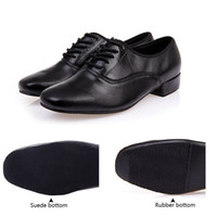 Wholesale latin dance men - Men's modern dance shoes Black Genuine Leather Rubber sole or soft outsole Ballroom dancing shoes 2.2cm low heel
