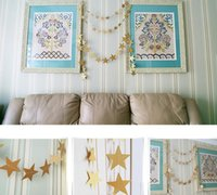 Wholesale Baby Shower Stars - Hot Baby Shower Wedding Party Bunting Star Paper 4m Decoration Banner Drop Garland