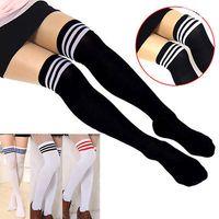 Wholesale Cheap Long Socks - Wholesale- NEW 2015 Women Stockings winter Stripe over knee socks thigh high cheap long socks sexy Cotton vintage stockings