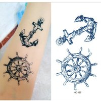 Wholesale Tattoos Arm Designs For Men - Viking Sailor Cultural Anchor Rudder Design Flash Tattoo Body Art Fake Tattoo Sticker for men 50pcs lot free ship