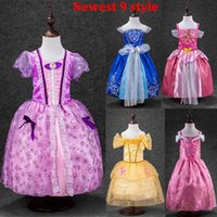 Wholesale Wholesale Beauty Pageant Dresses - HOT Girls Elsa Sofia Sleeping Beauty Snow White Cinderella Princess Dresses Kids Party Costume Children Luxury Pageant Gowns 9 Style WX-D18