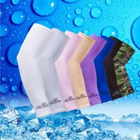 Wholesale Arm Sleeve Cycling - Wholesale Hicool Golf Arm Sleeves Sun Protection UV Protector Sports Cycling Summer Arm Warmers 7 Colors