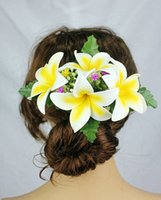 Wholesale Hawaii Flowers Free Shipping - New FREE SHIPPING KL1031 50PCS lot 8 colors mixted 16x10cm 4pcs Foam plumerias w plastic hair clip Hawaii Hula dance party ,tropical flower