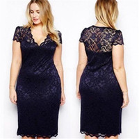 Wholesale Dreeses Lace - Wholesale- Women Blue Lace Summer Style Short Sleeve Party Bodycon Dress Ladies Knee-length V-Neck Plus Size Dreeses PY1