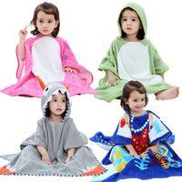 çizgi film bornozu toptan satış-Kızlar Bornoz Çocuk Kapüşonlu Karikatür Giyim Bebekler Renkli Banyo Robe Boys Banyo Pamuk Pijama çocuk Havlu QWC