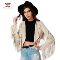 Wholesale Open Back Cardigan - Wholesale- 2017 New Spring Women Tops Long Sleeve And Back All Tassel Beige Cardigan Sexy Short Casual Jacket Fashion Street Jacket NC-413
