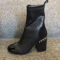 scarpe reali ~ u685 40 41 catena di cuoio genuino nero bianco tacco corto stivaletti  di lusso di design pista di moda marchio beige nero 8936906dc9e
