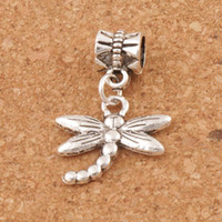 Libellule Tibétaine Pas Cher-Dragonfly Insect Big Hole Beads 100pcs / lot Tibetan Silver Dangle Fit European Charm Bracelets Bijoux Bricolage B176 18.1x27mm