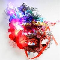 Wholesale Green Flash Paper - Halloween Colorful LED flash feather fiber mask masquerade party performer princess hair mask Batch