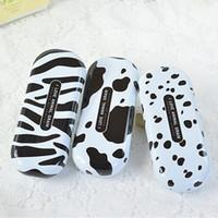 Wholesale Zebra Pencil - Wholesale-Creative Cute Cartoon Black and White Dots Stripe Zebra Cow Spotty Dog Dalmatian Glasses Box Spectacle Case Free Shipping