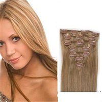 Wholesale European Hair Clips - In Stock 7 Pc Clip In Human Hair straight Clip In Hair Extensions #16 Clips Indian Human Hair Extensions