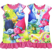 Wholesale Shorts Princess Tutu Children - New Girls Trolls Poppy Branch princess dress Children trolls cartoon short sleeves Pajamas dresses Kids clothes C001
