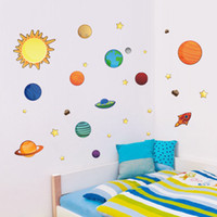 Wholesale planets live - Wall Sticker Creative Solar System Planet Bedroom Backdrop Water Proof Removable Art Decor Decals For Kid Room Stickers 5tt F R