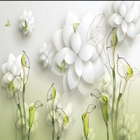 Wholesale Paintings Calla Lilies - Free Shipping Hand Painted 3D Calla Lily Bedroom Living Room Wallpaper Custom Lobby Studio Mural Stereo Resturant Hotel Wallpaper