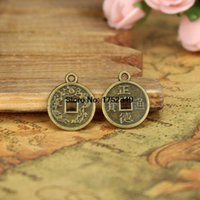 Wholesale Antique Chinese Coins - Wholesale- 25pcs-15mm Small Antique Bronze Tone Lucky Chinese Coin Charms