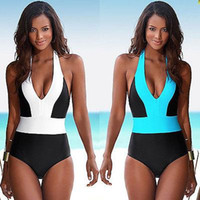 Wholesale Cut Out Swimsuits For Women - 2016 Sexy One Piece Swimsuit Bandage For Women Solid White and Blue One shoulder Cut Out Monokini Swimwear Bathing Suit bodysuit