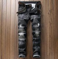 Wholesale Demin Top - Hot Popular Famous Bal main Slim fit Demin men jeans Top Straight Vintage Men Jogger Selvdge Trousers Vaqueros Hombre