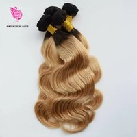 2017 Fantasybeauty Blonde Ombre Brésilienne Corps Cheveux Wave 3 Bundles 1b / 27 Two Tone Ombre