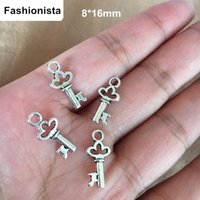 Wholesale 16mm Antique Bronze Pendant - 100 pcs Tiny Key Charms Antique Silver Bronze Tone 8*16mm Cute Key Charms,Perfect for pendants,earrings,zipper pulls and key chains