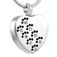 Wholesale Wholesale Pet Urns - IJD8383 316L Stainless Steel Cremation Jewelry Dog Paw Print Warm Heart Pet Memorial Urn Necklace Ashes Pendant