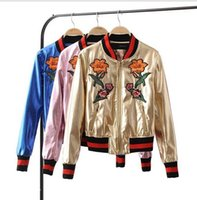 Wholesale Pu Leather Garment - Autumn and winter new baseball clothing PU leather garments heavy embroidery metal embroidered metal short jacket leather jacket female wome