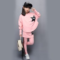Wholesale Girls 14 Years Clothes - Kids 2017 new girls set cotton long sleeves spring autumn casual bat shirt + skirt pants 4 6 8 10 12 14 years baby girl clothes
