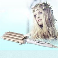 Wholesale Hair Wavers - KM-1010 Professional Triple Barrel Ceramic Hair Wave Waver Curling Iron Wand Tong Hair Pearl Waving Styling Tools Twiste Iron 220V 1201031