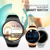 Regarder Un Nouveau Téléphone De Musique Pas Cher-New Arrival Bluetooth Smart Watch Téléphone KW18 Sim et TF Card Heart Rate Smartwatch Application Wearable pour IOS Android Bluetooth Music Recorder