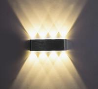 aluminium-lampe design großhandel-Moderne 6W / 8W Aluminium LED Up Down Wandleuchte mit Streulicht Design Leuchten Außen-Außenleuchte # 31