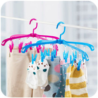 Wholesale Wholesale Plastic Clip Hangers - K6089 Multi-purpose Foldable Rotate 12 clips Plastic hangers Clothing sock Underwear rack Drying racks free shipping