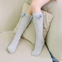 bacak çocuğu elbisesi toptan satış-Çocuklar için sevimli çocuk Diz Yüksek Çorap Çocuklar Kızlar Katı Yay-düğüm Pamuk Prenses Elbise Bale Çorap bacak isıtıcı yepyeni