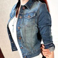 Wholesale Denim Short Jackets Wholesale - Wholesale- Newest Women's Fashion Casual Long Sleeve Denim Jacket Jeans Short Coat Jacket